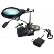 Купить Лупа Kromatech настольная 2,5x/7,5x/10x, 34/90 мм, с держателем и подсветкой (5 LED) MG16129-С